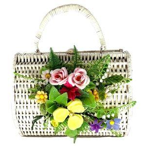 Vtg MARCUS BROTHERS Wicker Flower Bouquet Handbag